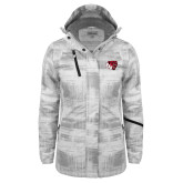 Ladies White Brushstroke Print Insulated Jacket-BSU w/ Bear Head