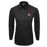 Ladies Black Tonal Pattern Long Sleeve Shirt-BSU w/ Bear Head