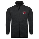 Black Heather Fleece Jacket-BSU w/ Bear Head