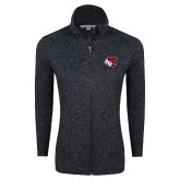 Black Heather Ladies Fleece Jacket-BSU w/ Bear Head