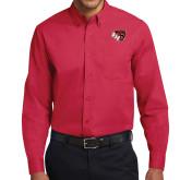 Red Twill Button Down Long Sleeve-BSU w/ Bear Head