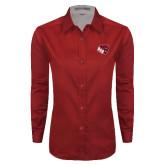 Ladies Red Twill Button Down Long Sleeve-BSU w/ Bear Head