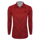 Ladies Red Twill Button Down Long Sleeve-BSU w/ Bear Head Tone