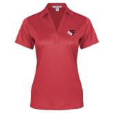 Ladies Red Performance Fine Jacquard Polo-BSU w/ Bear Head