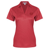 Ladies Red Performance Fine Jacquard Polo-BSU w/ Bear Head Tone