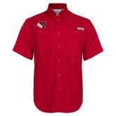 Columbia Bonehead Red Short Sleeve Shirt-BSU w/ Bear Head