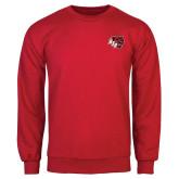 Red Fleece Crew-BSU w/ Bear Head