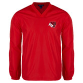 V Neck Red Raglan Windshirt-BSU w/ Bear Head