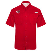 Columbia Tamiami Performance Red Short Sleeve Shirt-BSU w/ Bear Head