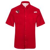 Columbia Tamiami Performance Red Short Sleeve Shirt-BSU w/ Bear Head