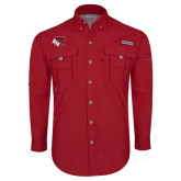Columbia Bahama II Red Long Sleeve Shirt-BSU w/ Bear Head