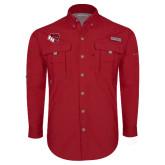 Columbia Bahama II Red Long Sleeve Shirt-BSU w/ Bear Head