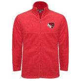 Fleece Full Zip Red Jacket-BSU w/ Bear Head