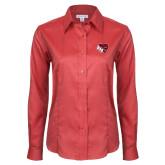 Ladies Red House Red Long Sleeve Shirt-BSU w/ Bear Head