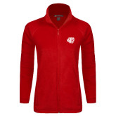Ladies Fleece Full Zip Red Jacket-BSU w/ Bear Head