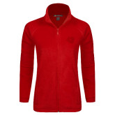 Ladies Fleece Full Zip Red Jacket-BSU w/ Bear Head Tone