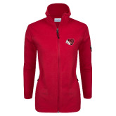 Columbia Ladies Full Zip Red Fleece Jacket-BSU w/ Bear Head