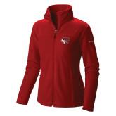 Columbia Ladies Full Zip Red Fleece Jacket-BSU w/ Bear Head