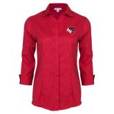 Ladies Red House Red 3/4 Sleeve Shirt-BSU w/ Bear Head
