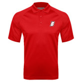 Red Textured Saddle Shoulder Polo-B