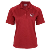 Ladies Red Textured Saddle Shoulder Polo-BSU w/ Bear Head