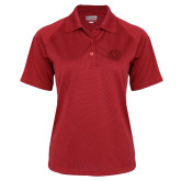 Ladies Red Textured Saddle Shoulder Polo-BSU w/ Bear Head Tone