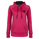 Ladies Pink Raspberry Tech Fleece Hoodie-BSU w/ Bear Head Tone