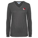 Ladies Charcoal Heather V Neck Sweater-BSU w/ Bear Head