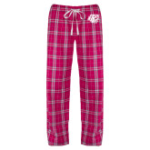 Ladies Dark Fuchsia/White Flannel Pajama Pant-BSU w/ Bear Head