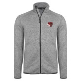 Grey Heather Fleece Jacket-BSU w/ Bear Head