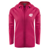 Ladies Tech Fleece Full Zip Hot Pink Hooded Jacket-BSU w/ Bear Head