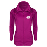 Ladies Sport Wick Stretch Full Zip Deep Berry Jacket-BSU w/ Bear Head
