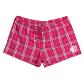 Ladies Dark Fuchsia/White Juniors Flannel Plaid Boxer-BSU w/ Bear Head
