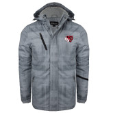 Grey Brushstroke Print Insulated Jacket-BSU w/ Bear Head