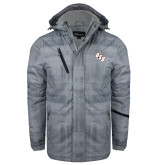 Grey Brushstroke Print Insulated Jacket-BSU