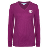 Ladies Deep Berry V Neck Sweater-BSU w/ Bear Head
