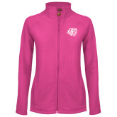 Ladies Fleece Full Zip Raspberry Jacket-BSU w/ Bear Head