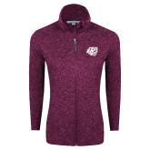 Dark Pink Heather Ladies Fleece Jacket-BSU w/ Bear Head