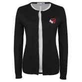Ladies Black Cardigan-BSU w/ Bear Head