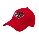 Red Heavyweight Twill Pro Style Hat-BSU w/ Bear Head