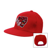 Red Flat Bill Snapback Hat-BSU w/ Bear Head