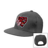 Charcoal Flat Bill Snapback Hat-BSU w/ Bear Head