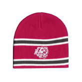 Pink/Charcoal/White Striped Knit Beanie-BSU w/ Bear Head