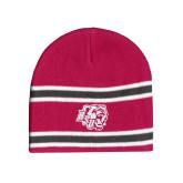 Pink/Charcoal/White Striped Knit Beanie-BSU w/ Bear Head