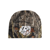 Mossy Oak Camo Fleece Beanie-BSU w/ Bear Head