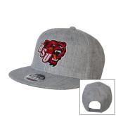 Heather Grey Wool Blend Flat Bill Snapback Hat-BSU w/ Bear Head