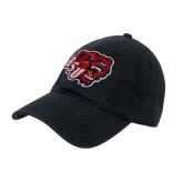 Black Twill Unstructured Low Profile Hat-BSU w/ Bear Head