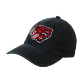 Black OttoFlex Unstructured Low Profile Hat-BSU w/ Bear Head