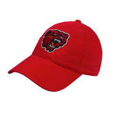 Red Twill Unstructured Low Profile Hat-Bear Head