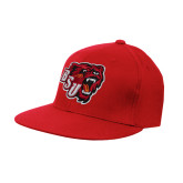 Red OttoFlex Flat Bill Pro Style Hat-BSU w/ Bear Head